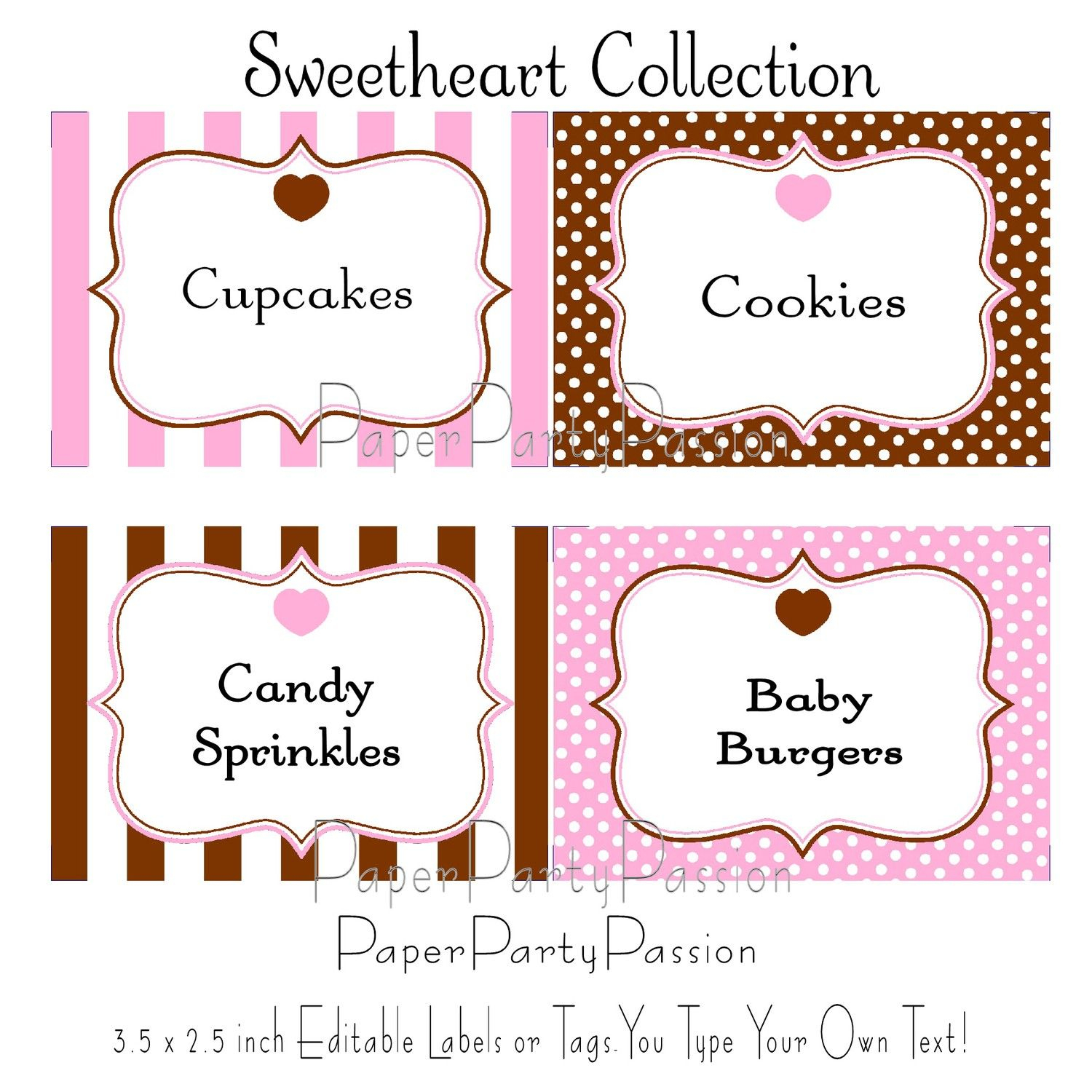 Candy Buffet Printable Editable Party Labels Or Tags Pink And Brown - Free Printable Food Tags For Buffet