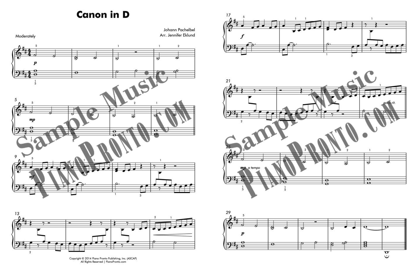 Canon In D - Easy Piano Version | Sheet Music | Piano Pronto Publishing - Canon In D Piano Sheet Music Free Printable