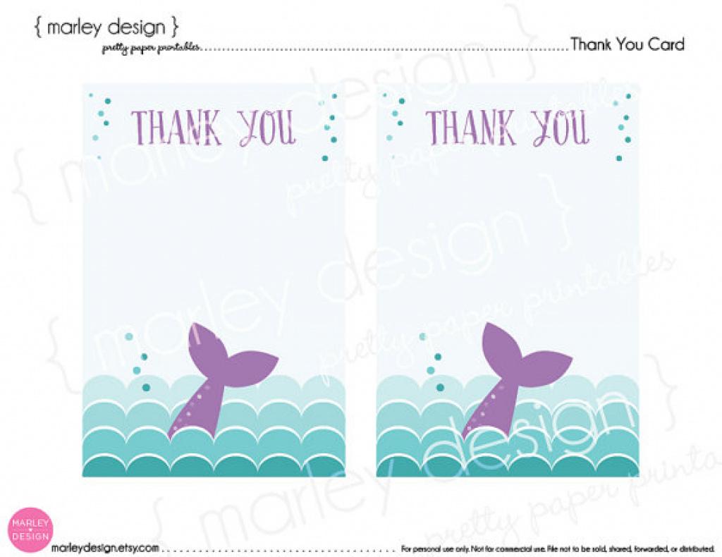 Card Printables Mermaid Thank You Card Printable Mermaid Party In - Free Printable Mermaid Thank You Cards