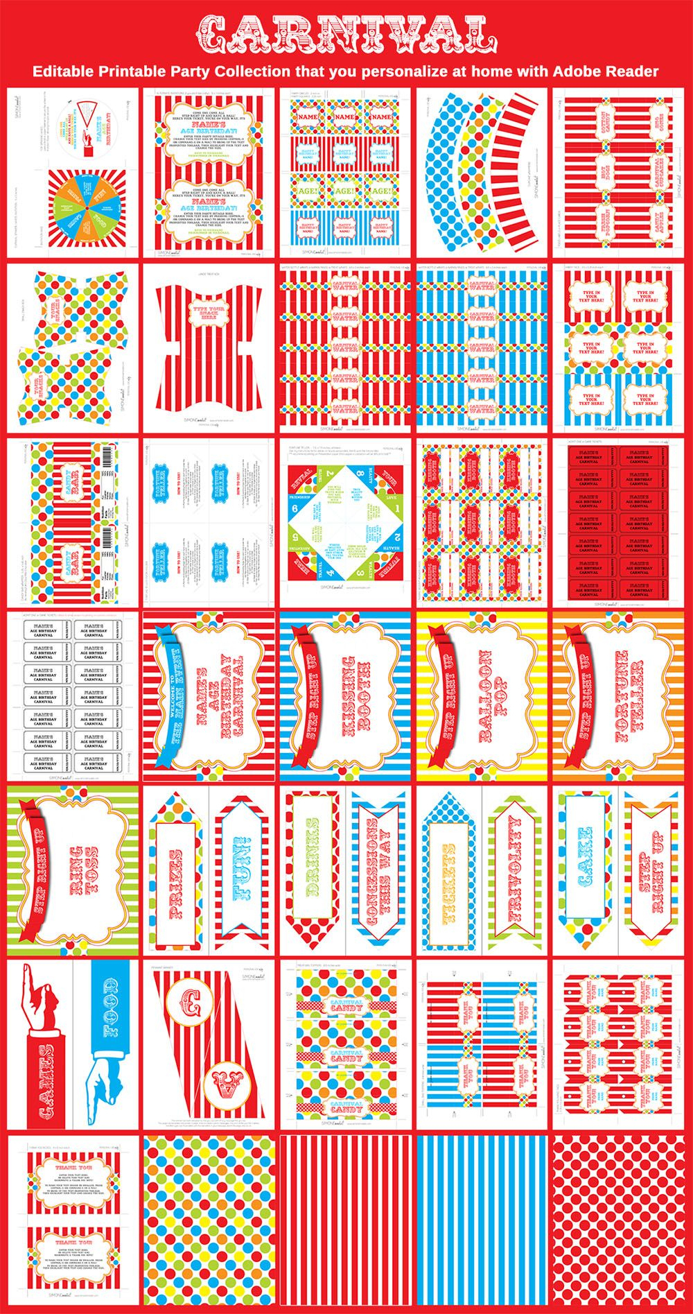 Carnival Party Printables | Martha | Pinterest | Carnival Birthday - Free Printable Carnival Decorations