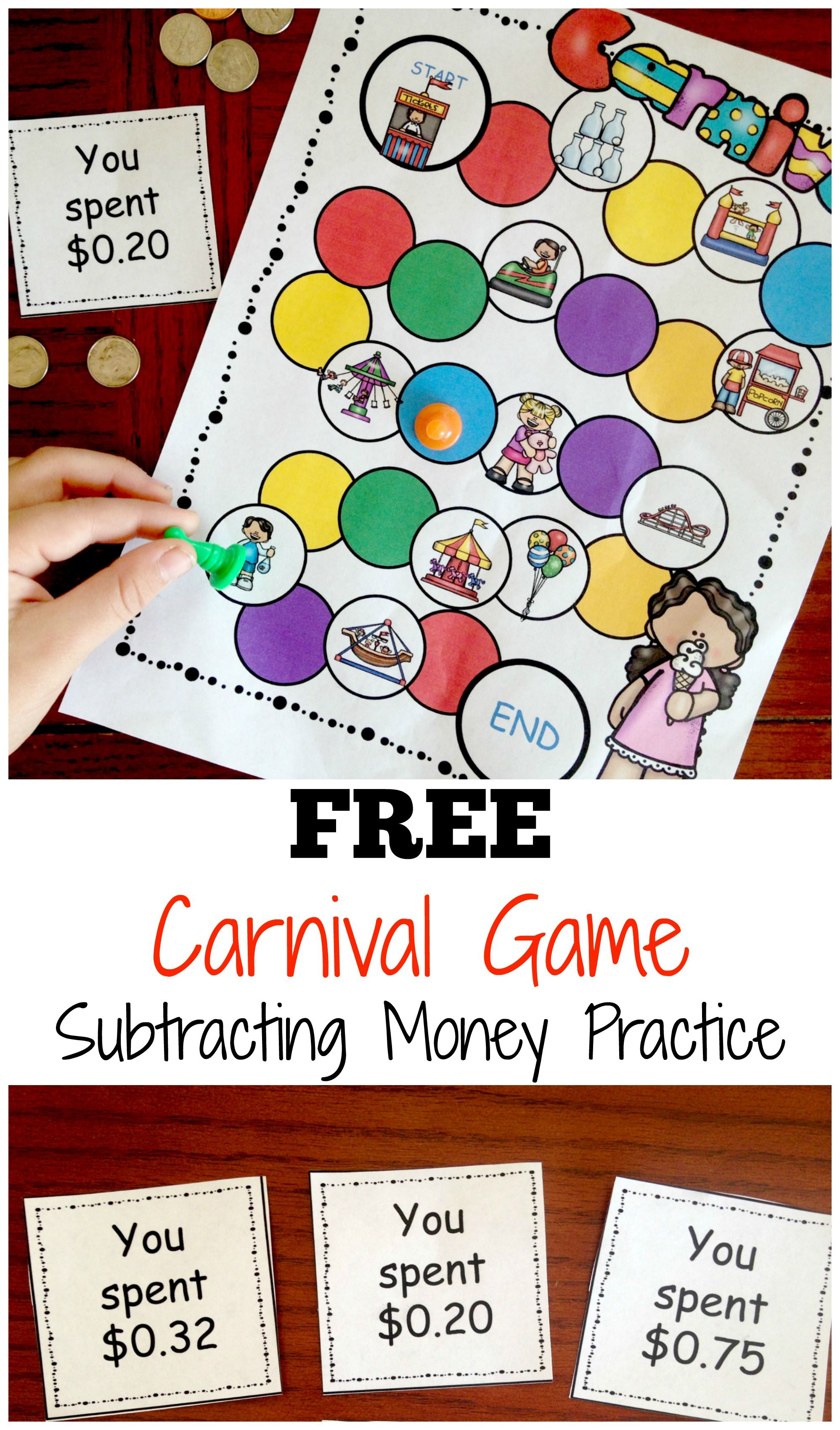 Carnival Subtracting Money Game | Free Worksheets For Kids - Free Printable Game Money