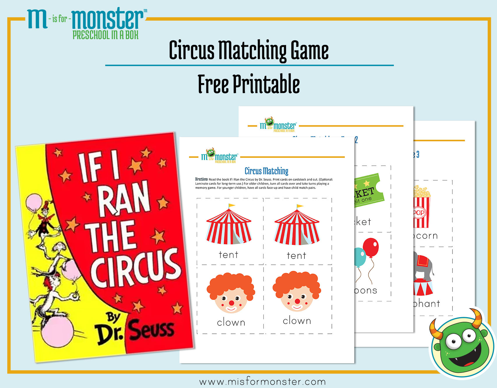 Carnival Week Free Printable | M Is For Monster - Free Printable Toddler Matching Games