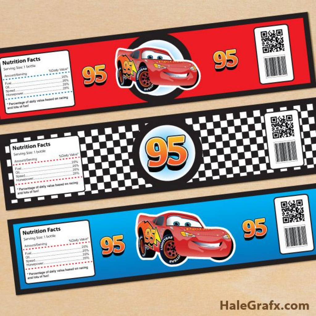 Cars Bottle Labels Free Printable Disney Cars Lightning Mcqueen - Free Printable Cars Water Bottle Labels