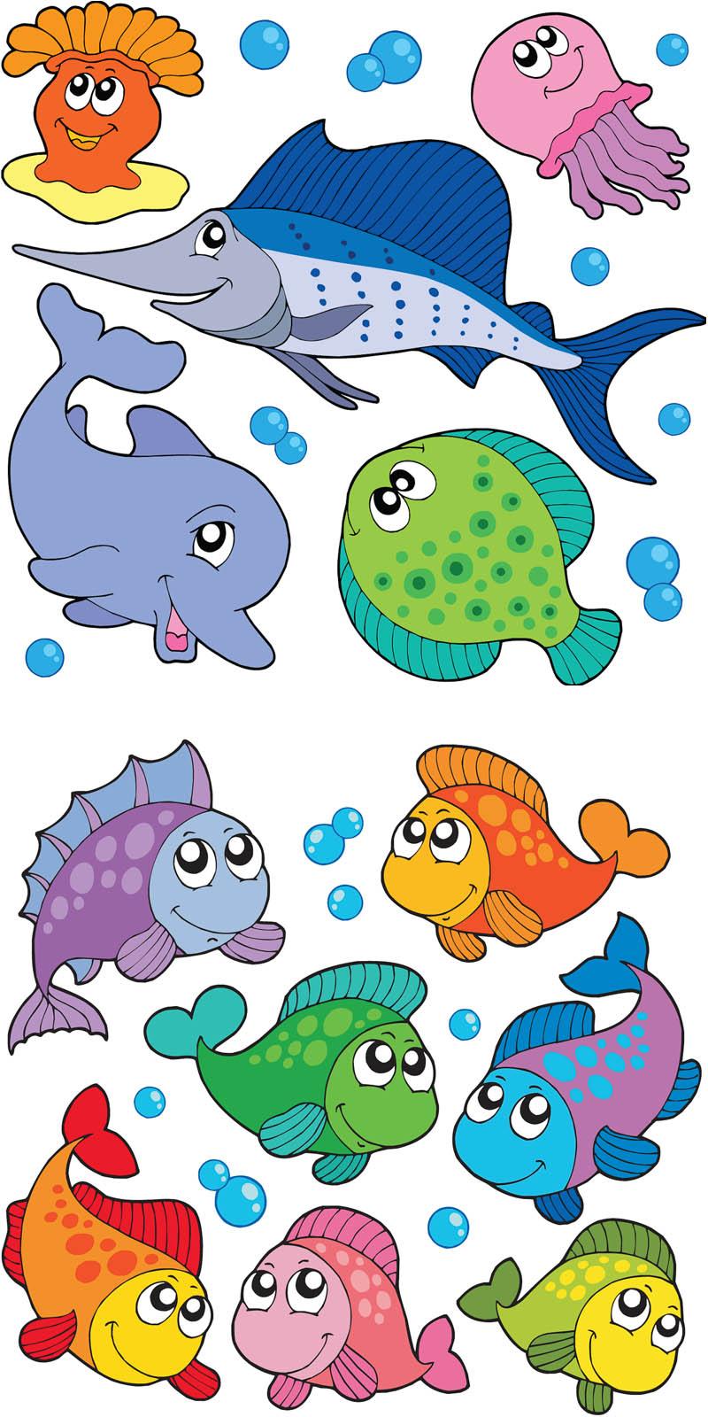 Cartoon Fishes Vector | Vector Graphics Blog - Free Printable Sea Creature Templates