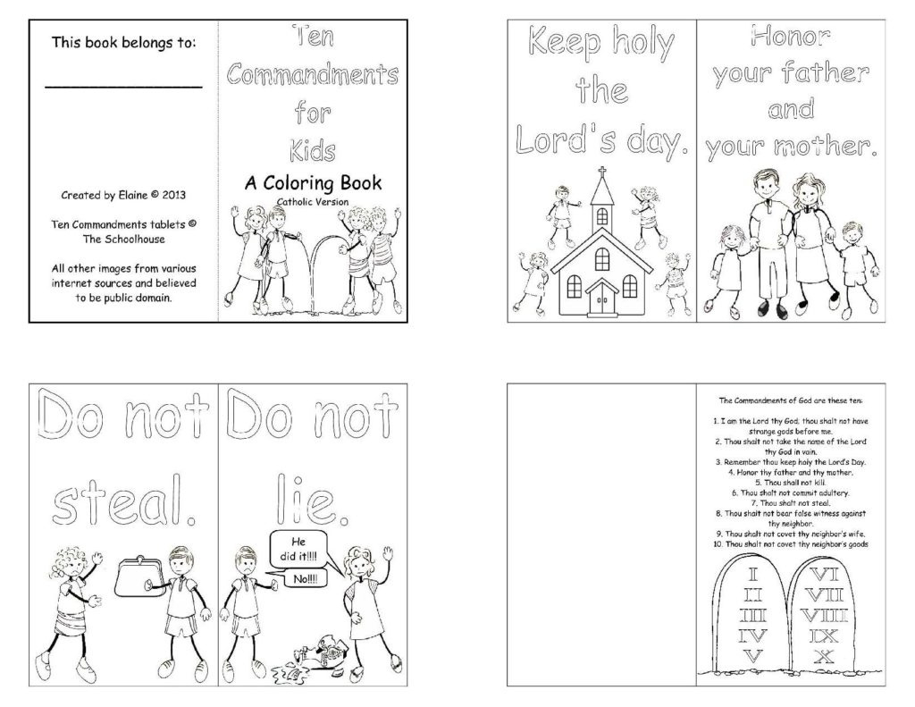 Catholic Ten Commandments Coloring Pages Printable | Coloring Book - Free Catholic Ten Commandments Printable