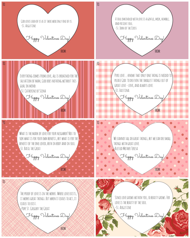 Catholic Valentine Cards: Free Printables! - California To Korea - Valentine Free Printable Cards
