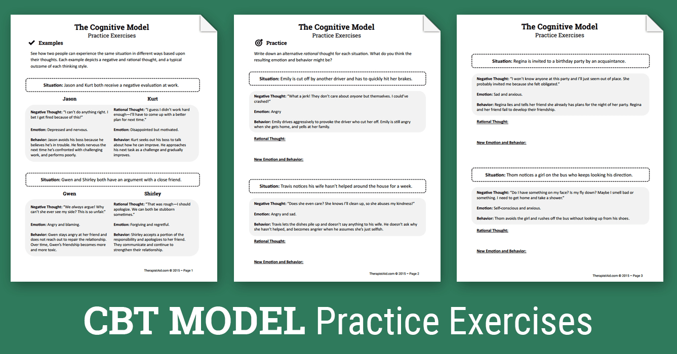 Cbt Practice Exercises (Worksheet) | Therapist Aid - Free Printable Therapy Worksheets