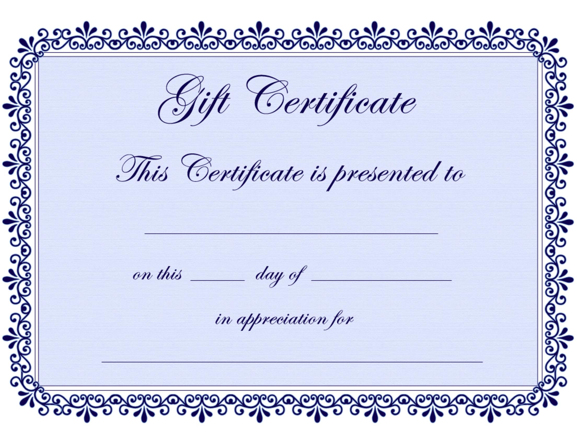 Certificate Templates   Gift Certificate Template Free - Pdf - Free Printable Tattoo Gift Certificates