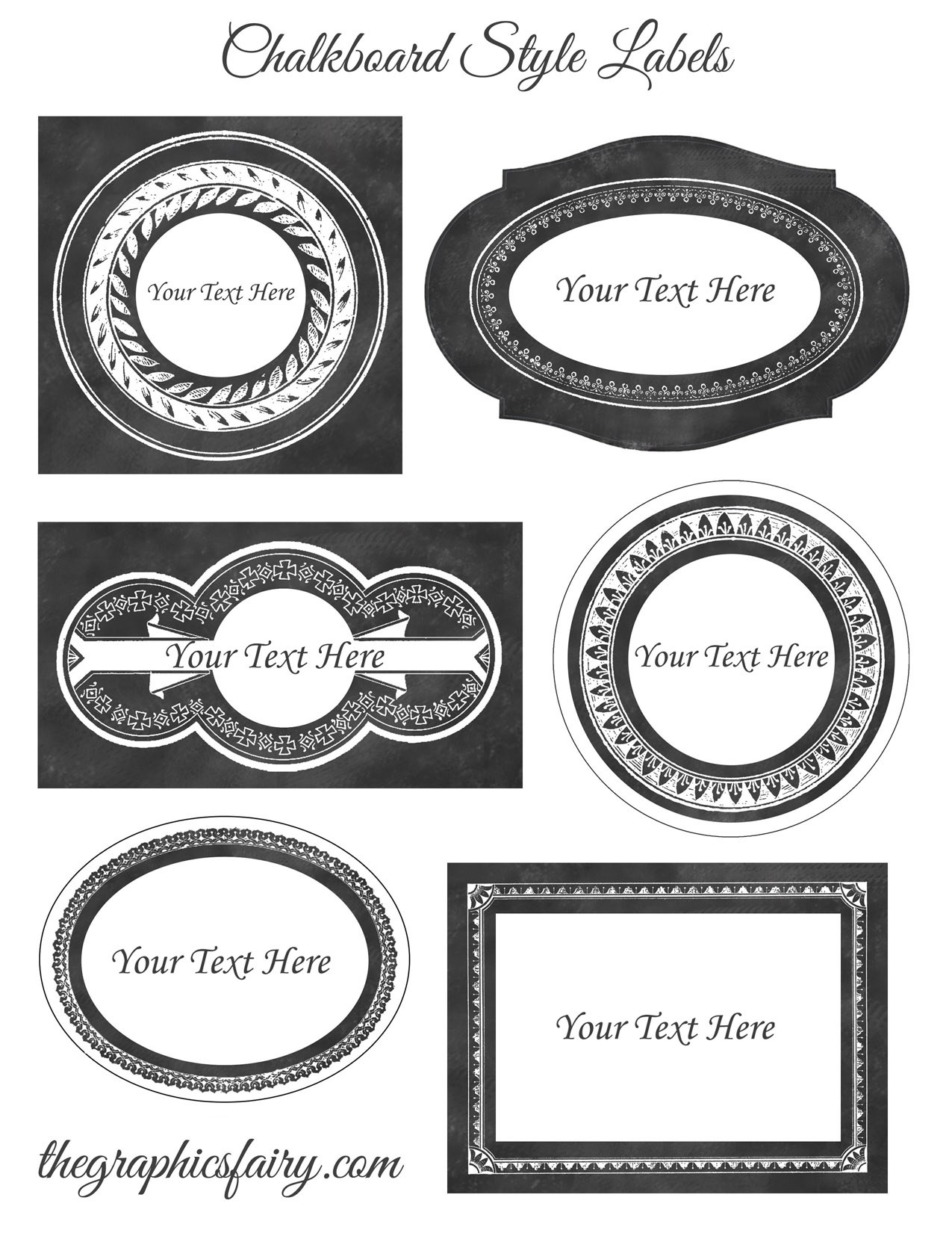 Chalkboard Style Printable Labels - Editable! - The Graphics Fairy - Free Printable Labels