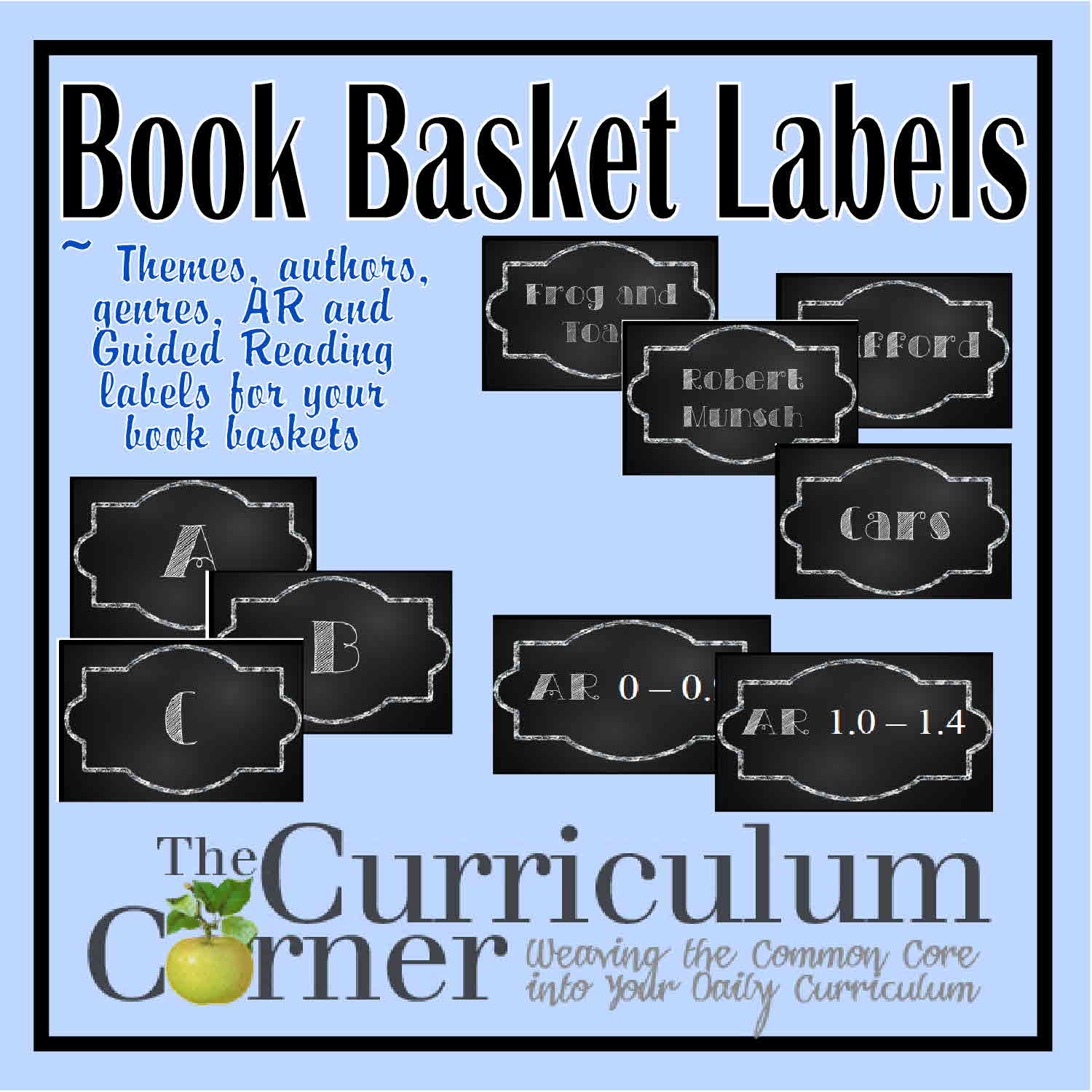 Chalkboard Themed Book Basket Labels - The Curriculum Corner 123 - Free Printable Book Bin Labels