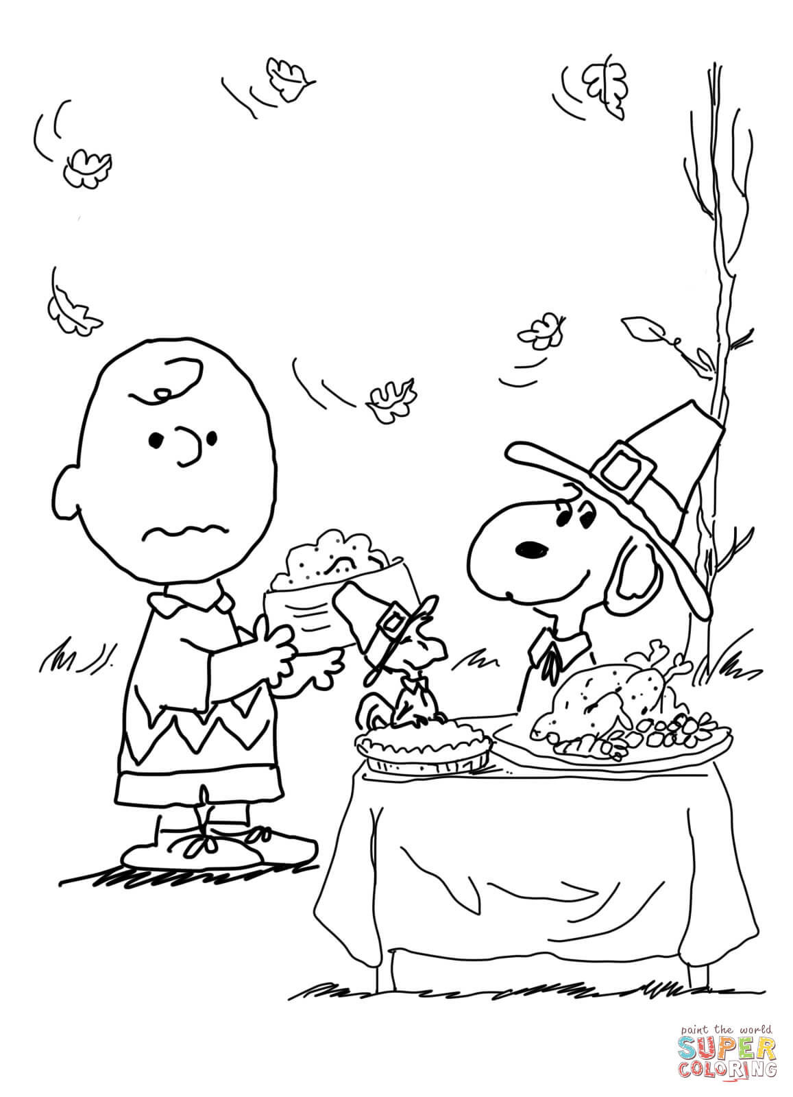 Charlie Brown Thanksgiving Coloring Page | Free Printable Coloring Pages - Free Printable Thanksgiving Coloring Pages