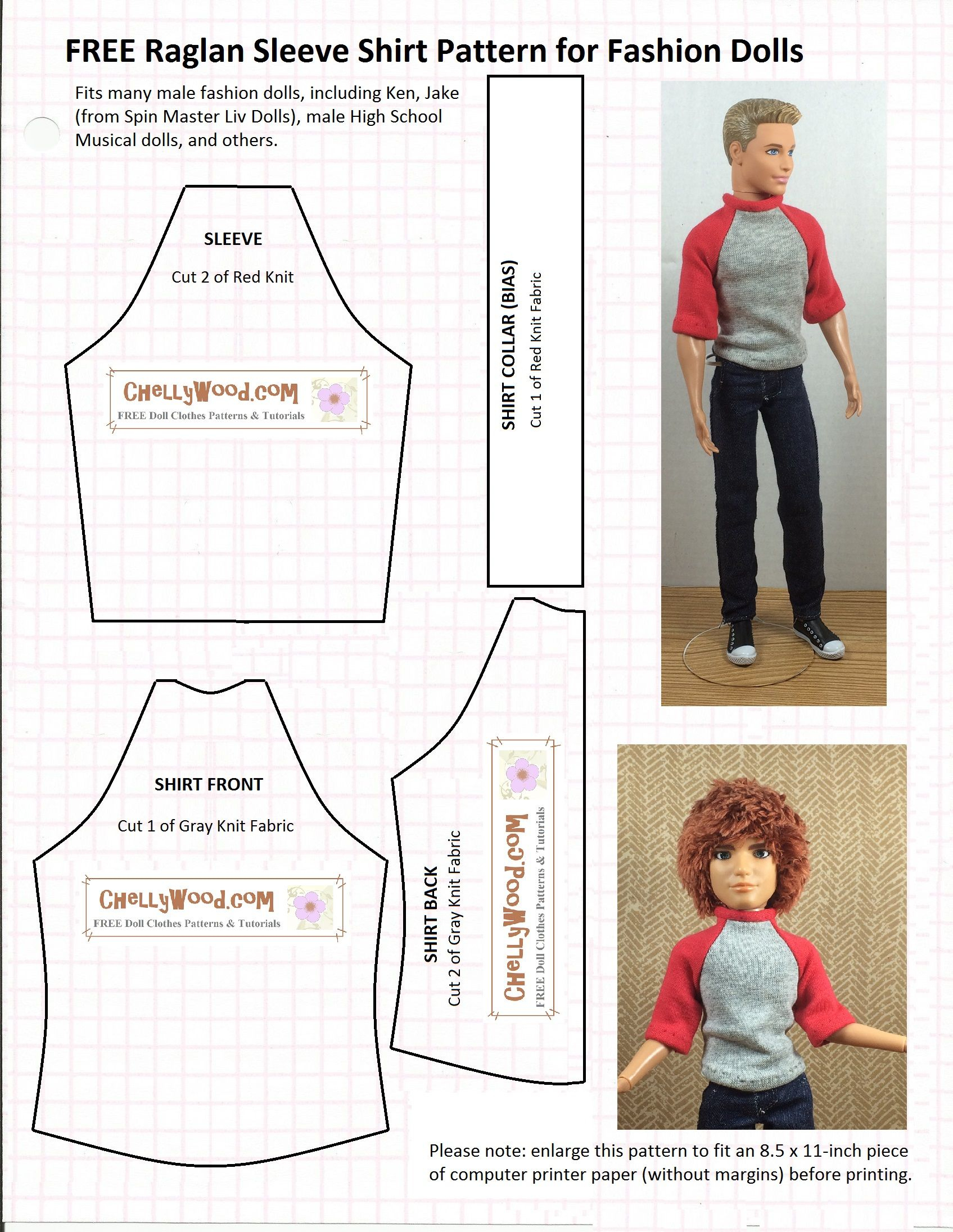 Chellywood Has Free, Printable Sewing Patterns For Lots Of - Ken Clothes Patterns Free Printable