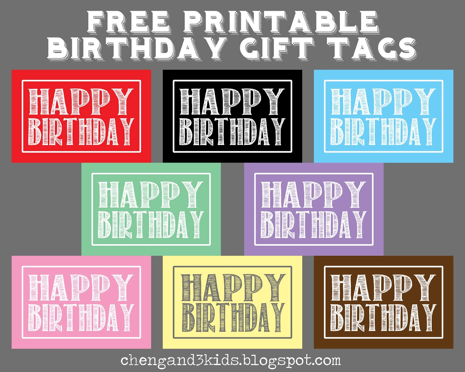 Cheng And 3 Kids: Free Printable Birthday Gift Tags - Free Printable Birthday Tags