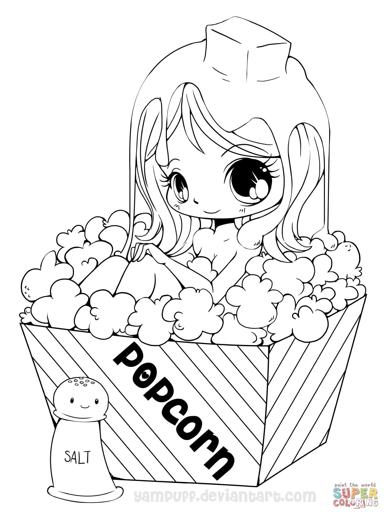 Chibi Popcorn Girl Coloring Page | Free Printable Coloring Pages - Free Printable Coloring Pages For Girls