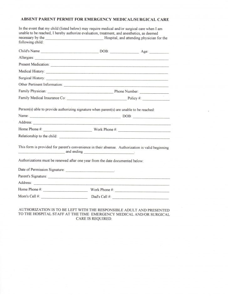 Free Printable Daycare Forms For Parents