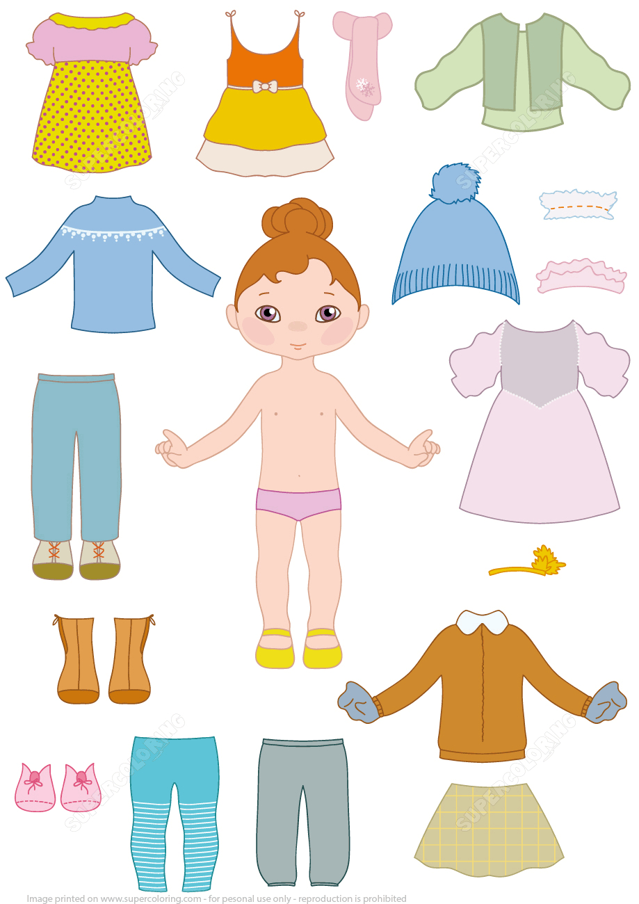 Child Girl Paper Doll With Clothes From Dress Up Paper Dolls - Free Printable Dress Up Paper Dolls