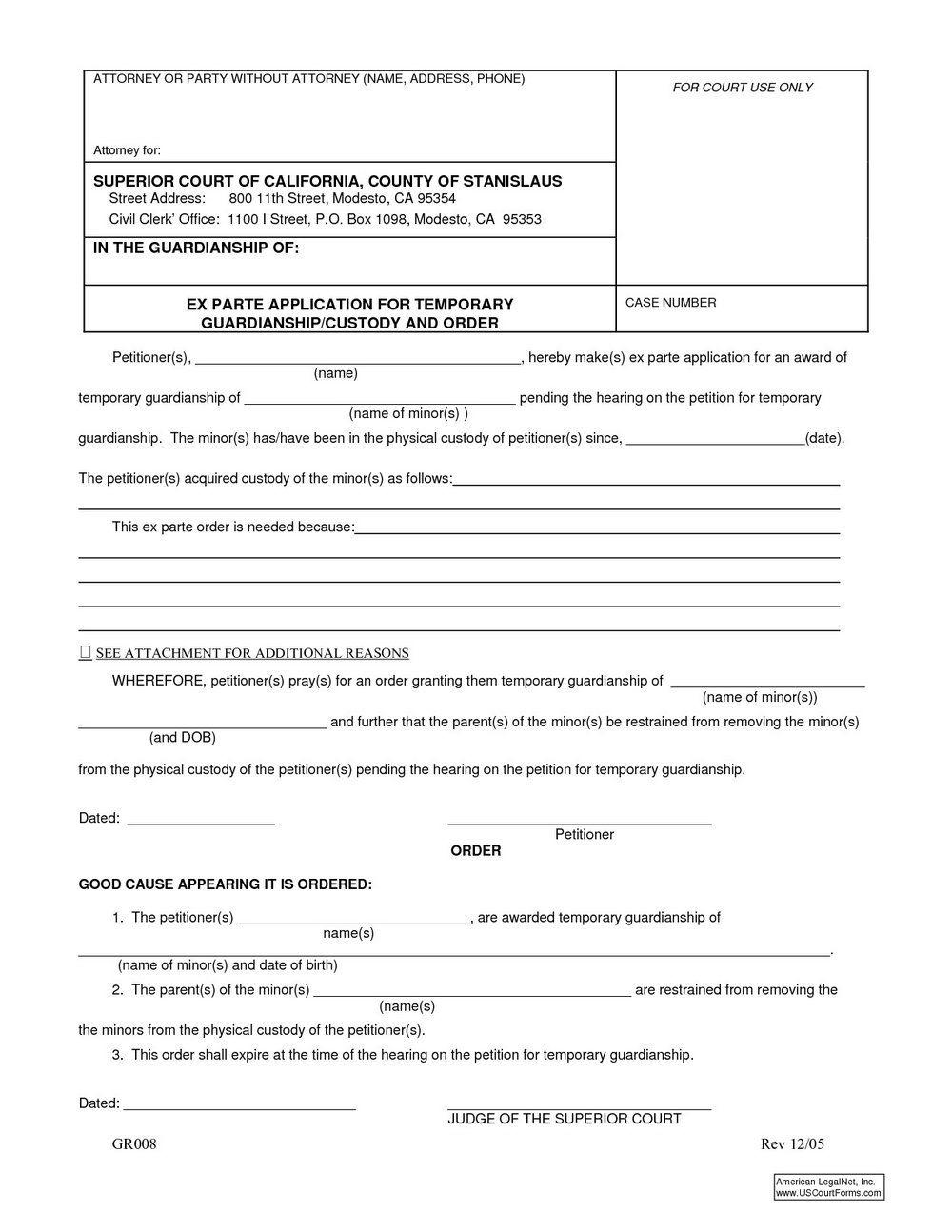 Child Guardianship Forms California #346410004921 – Legal - Free Printable Child Guardianship Forms