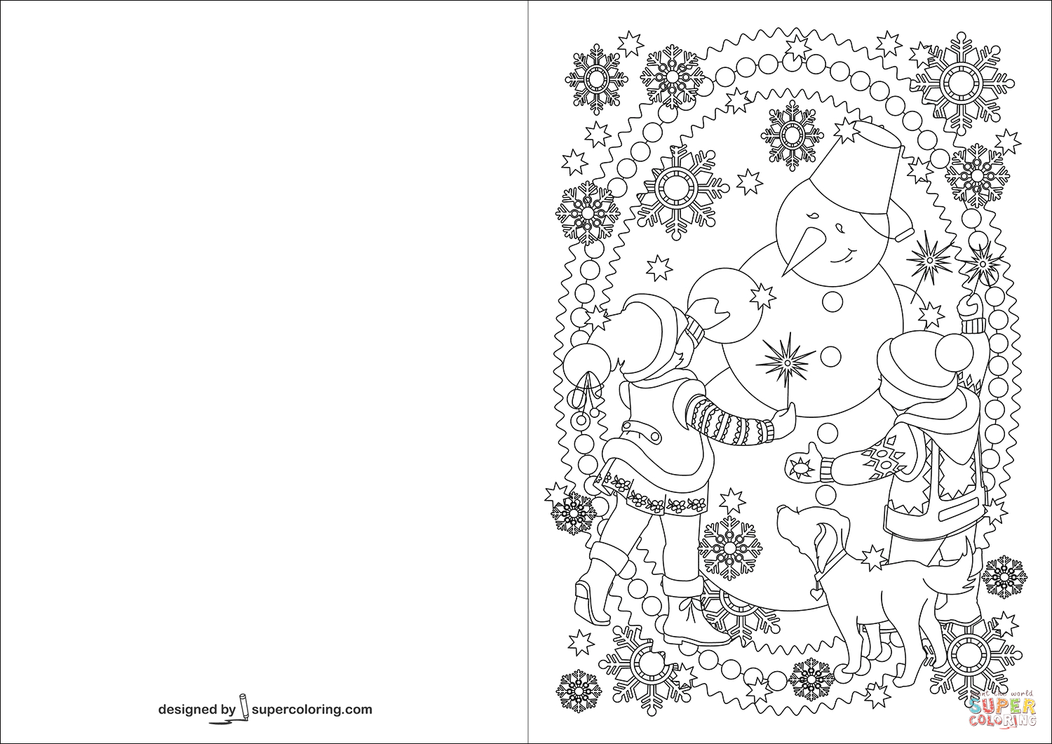 Children And Snowman Are Celebrating Happy New Year Card Coloring - Free Printable Happy New Year Cards