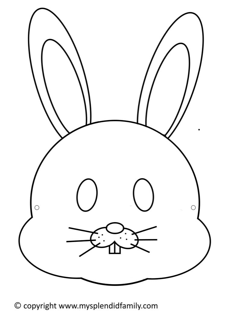 Children's Easter Bunny Mask - Free Printable Easter Masks