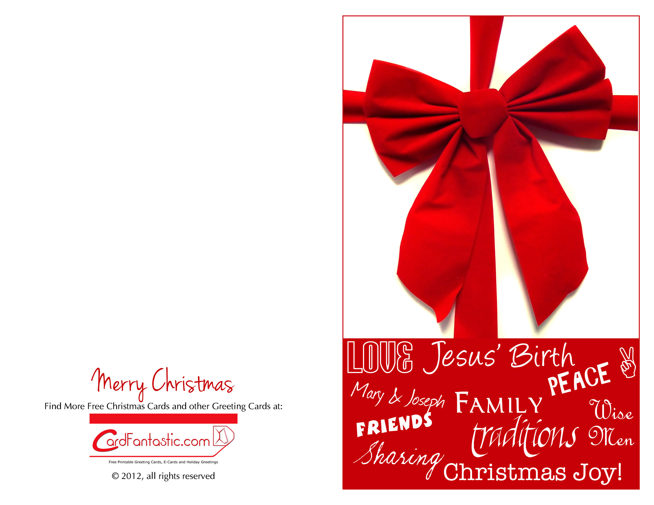 Chirstmas Cards - Download Free Greeting Cards And E-Cards - Free Printable Quarter Fold Christmas Cards