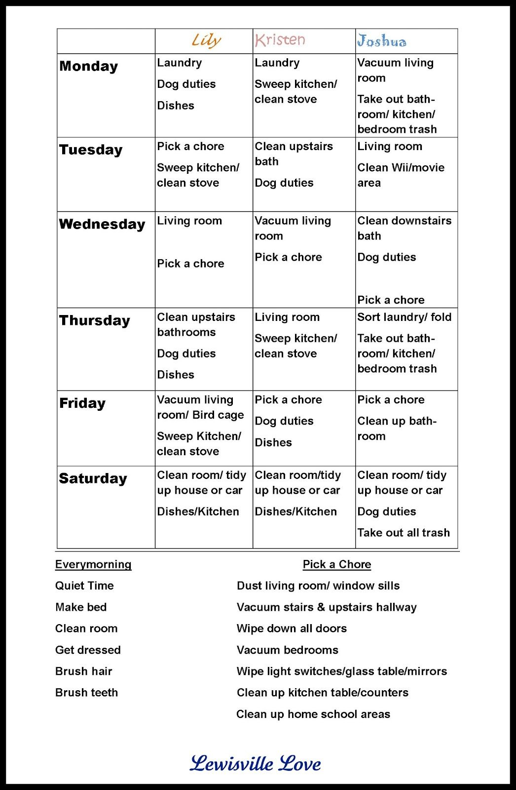"""Chore Charts For Teens 