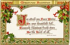 Christmas Blessings ~ Free Vintage Postcard Graphic – Old Design – Free Printable Vintage Christmas Clip Art