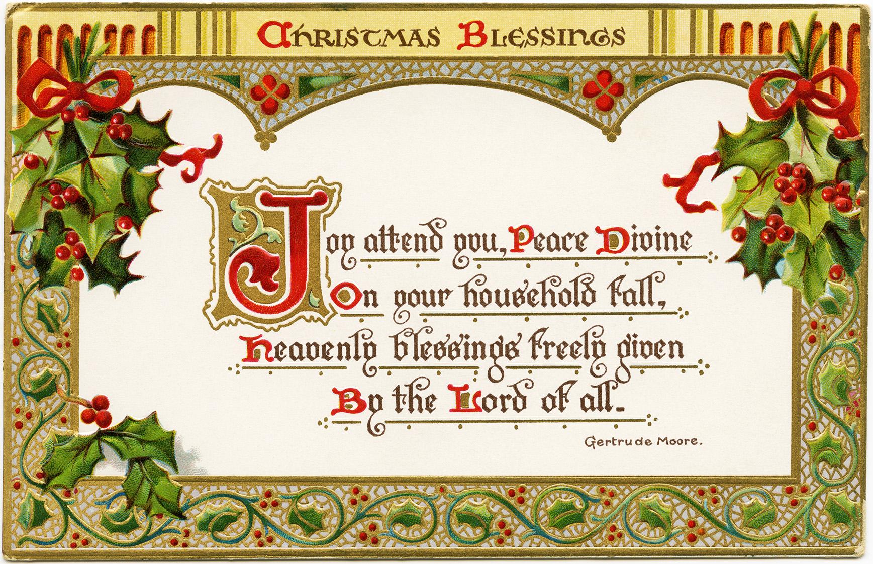 Christmas Blessings ~ Free Vintage Postcard Graphic - Old Design - Free Printable Vintage Christmas Clip Art