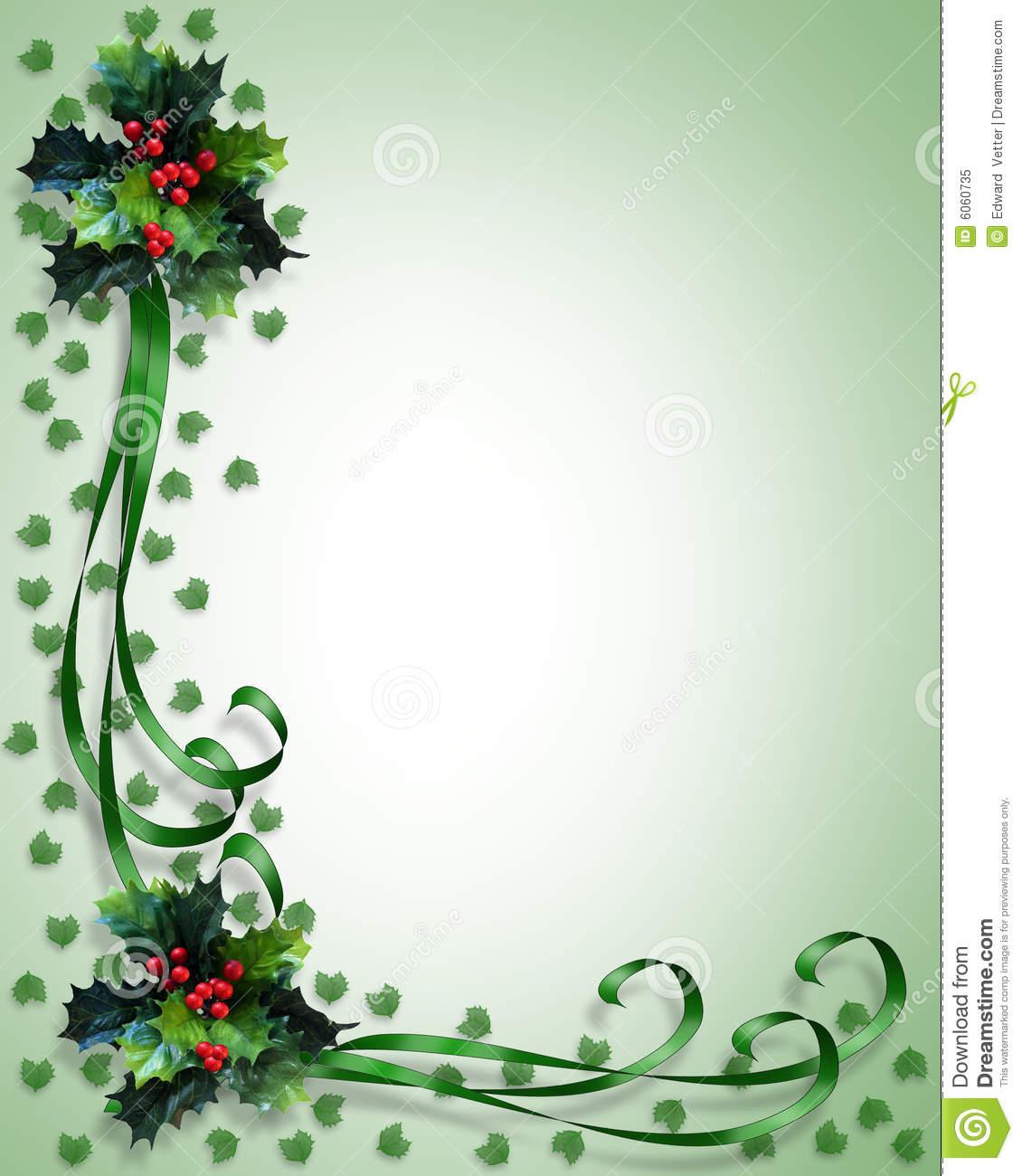 Christmas Border Holly And Ribbons Stock Illustration - Illustration - Free Printable Christmas Backgrounds