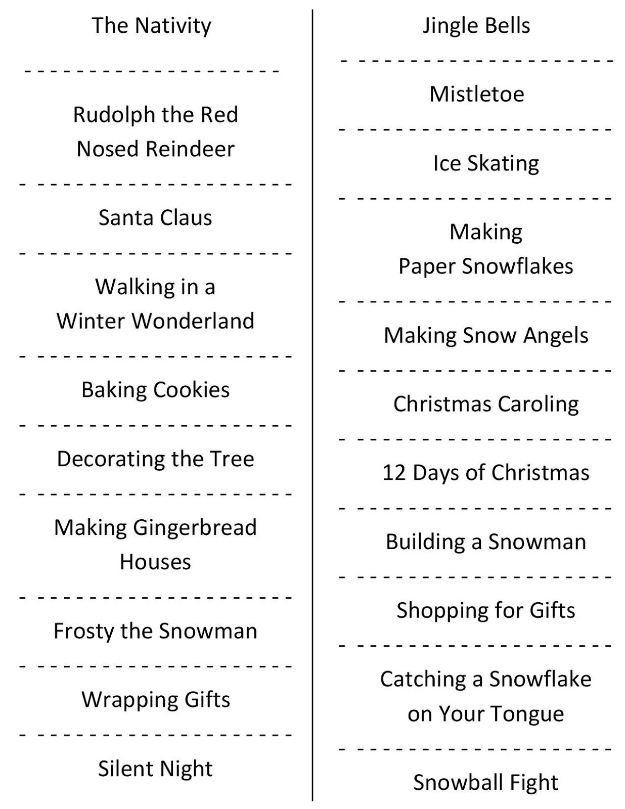 Christmas Charades (Free Printable Party Game) | Christmas | Holiday - Free Printable Charades Cards