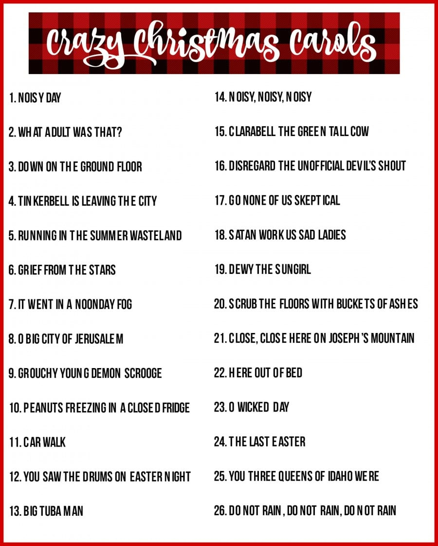 Christmas Charades Game And Free Printable Roundup! - A Girl And A - Christmas Song Lyrics Game Free Printable