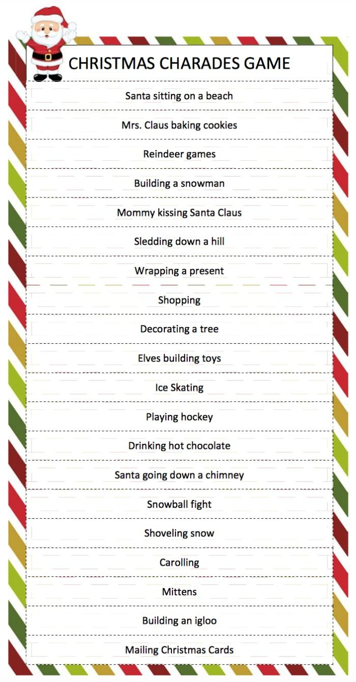 Christmas Charades Game | Breakfast Brunch | Pinterest | Christmas - Free Printable Christmas Games For Family Gatherings