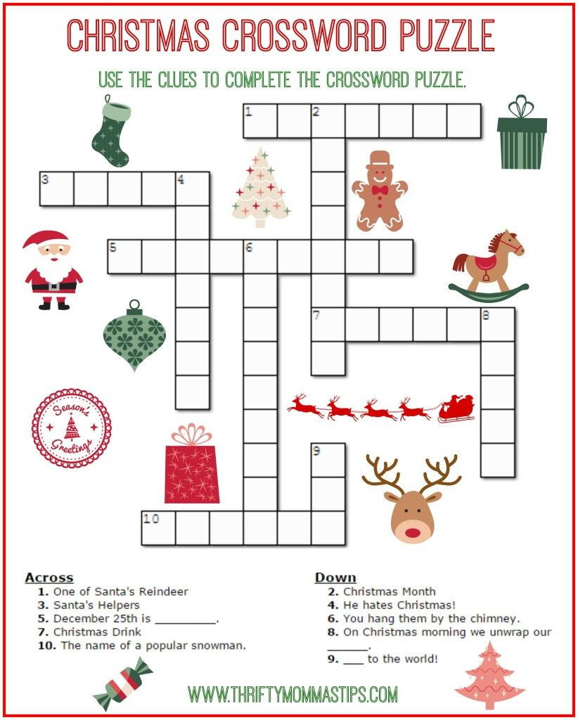 Christmas Crossword Puzzle Printable - Thrifty Momma's Tips | Aj - Free Printable Christmas Crossword Puzzles For Adults