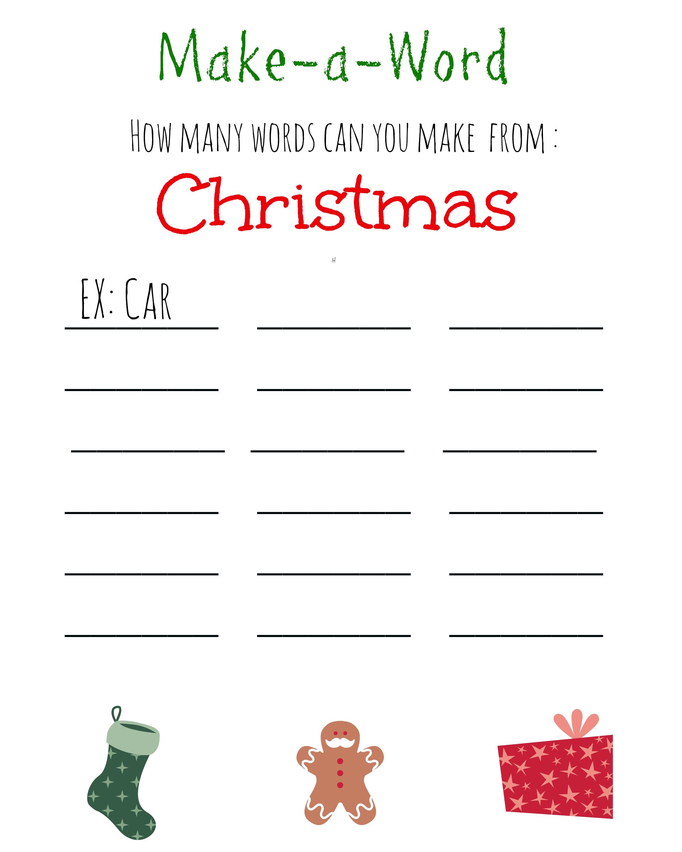 Christmas Games For Kids ~ Free Printable, Christmas Make A Word - Free Printable Christmas Word Games