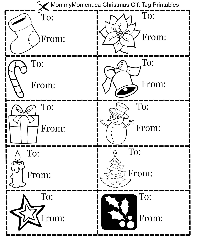 Christmas Gift Tag Printables | Mommy Moment - Christmas Gift Tags Free Printable Black And White