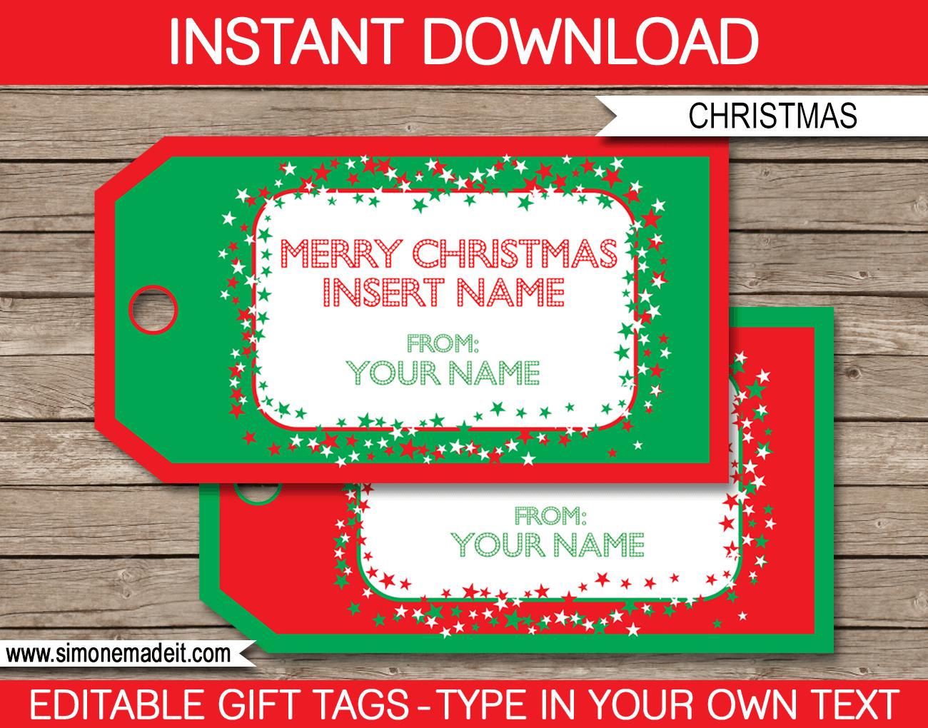 Christmas Gift Tag Template - Free Printable Editable Christmas Gift Tags