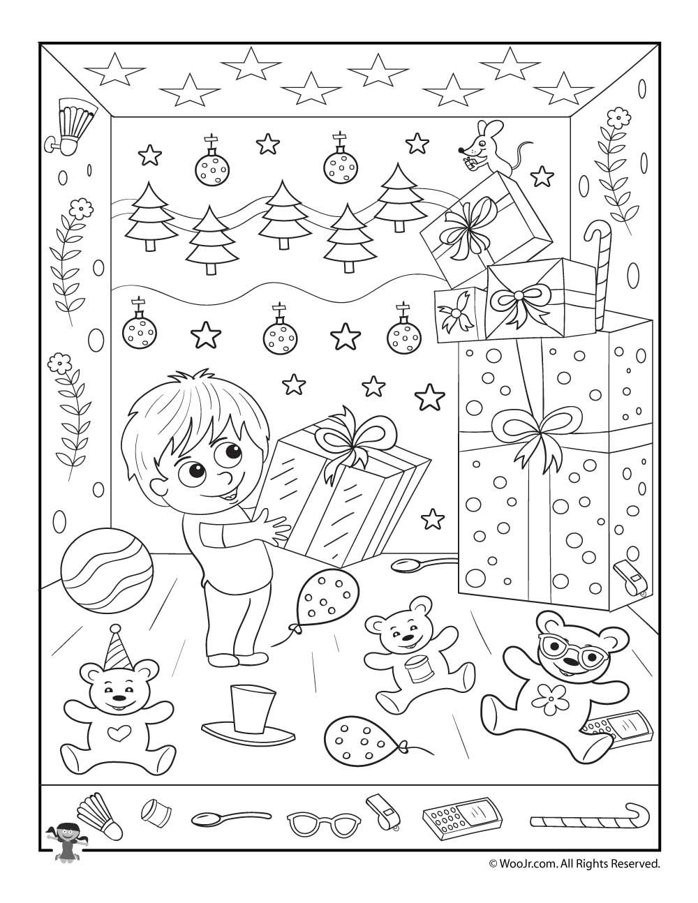 Christmas Gifts Hidden Picture Printable Activity | Merry Christmas - Free Printable Christmas Hidden Picture Games