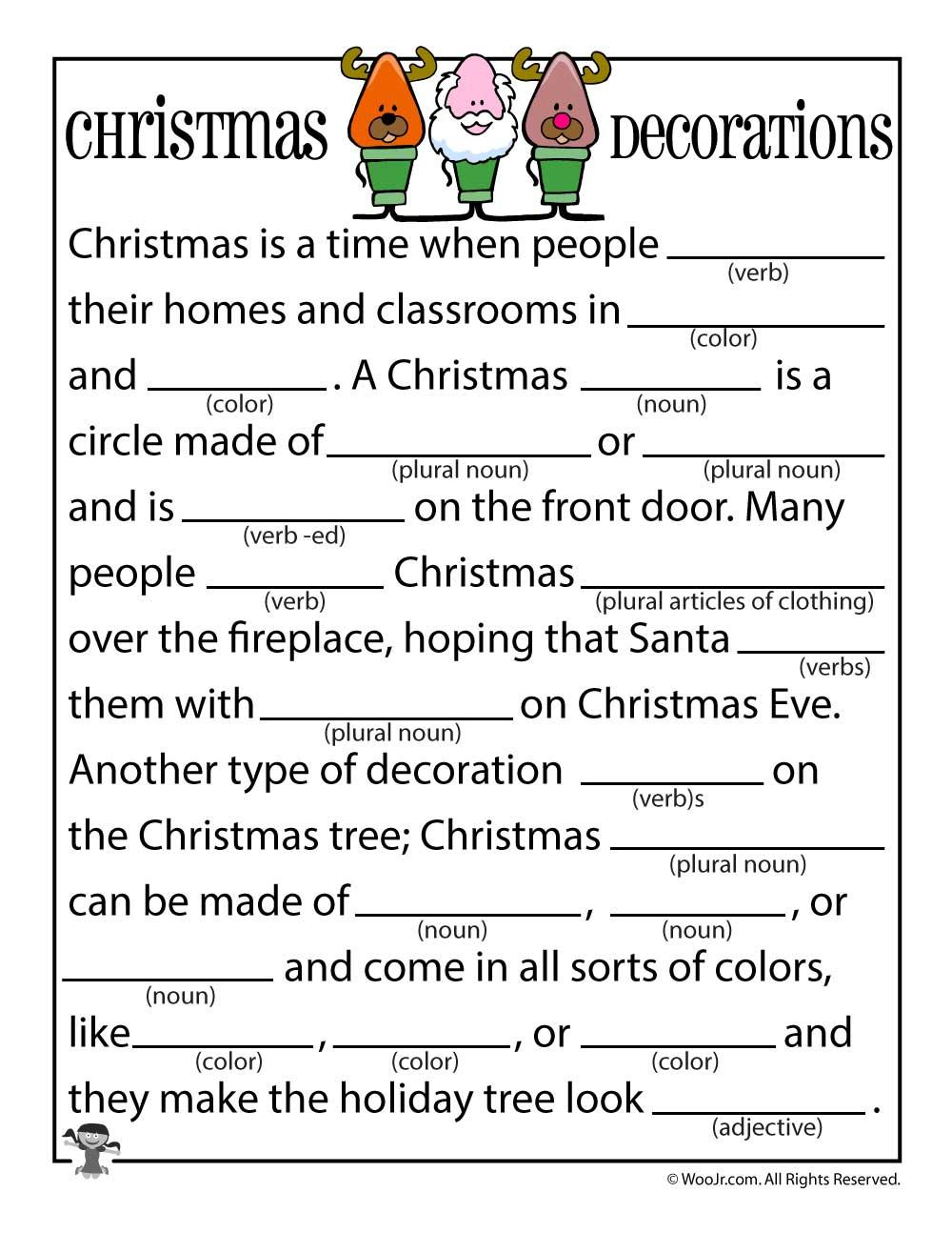 Christmas Mad Libs | Woo! Jr. Kids Activities - Free Printable Mad Libs For Tweens