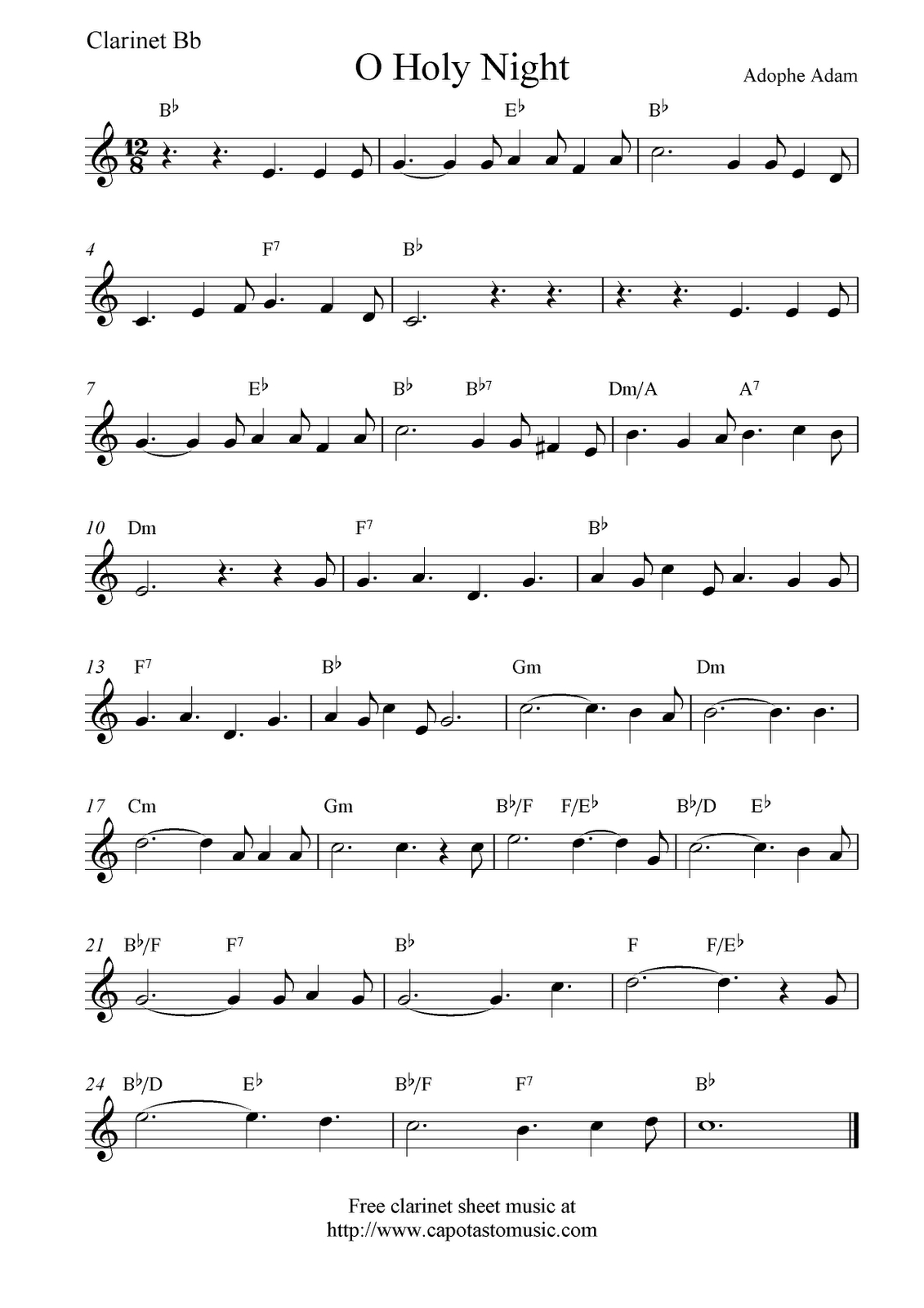 Christmas Music For Clairnet |  Music Scores: O Holy Night, Free - Free Printable Clarinet Music