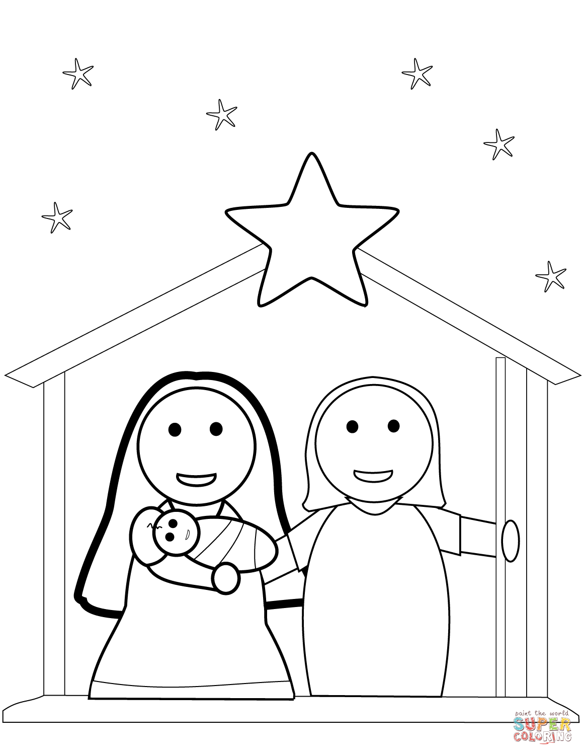 Christmas Nativity Scene Coloring Page | Free Printable Coloring Pages - Free Printable Pictures Of Nativity Scenes