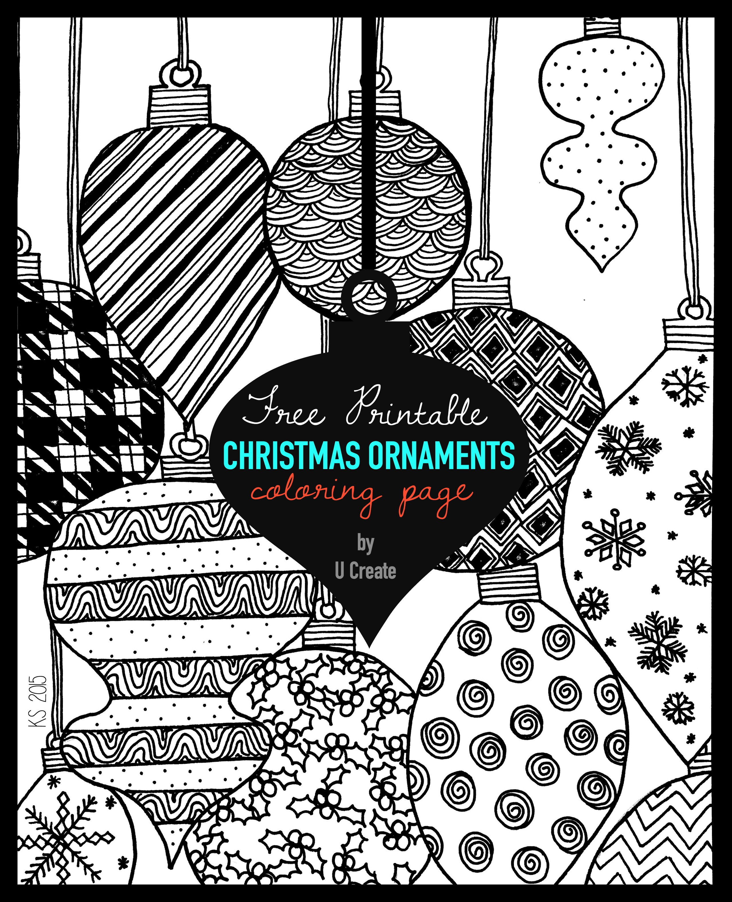 Christmas Ornaments Adult Coloring Page - U Create - Free Printable Christmas Tree Ornaments Coloring Pages