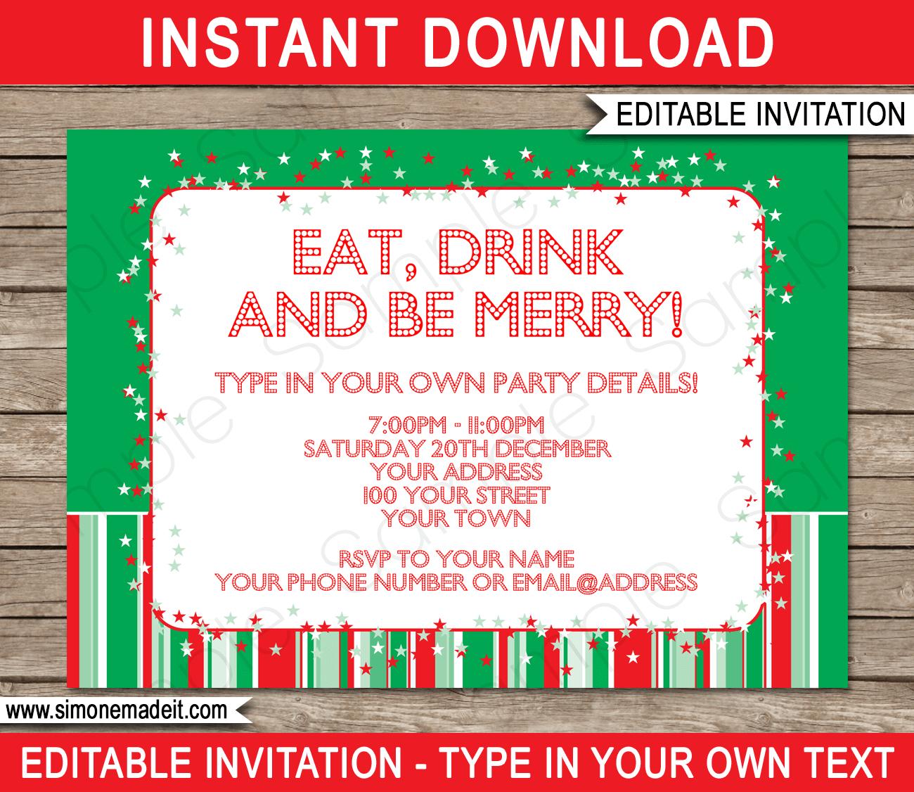 Christmas Party Free Printable Holiday Invitation Personalized - Christmas Party Invitation Templates Free Printable