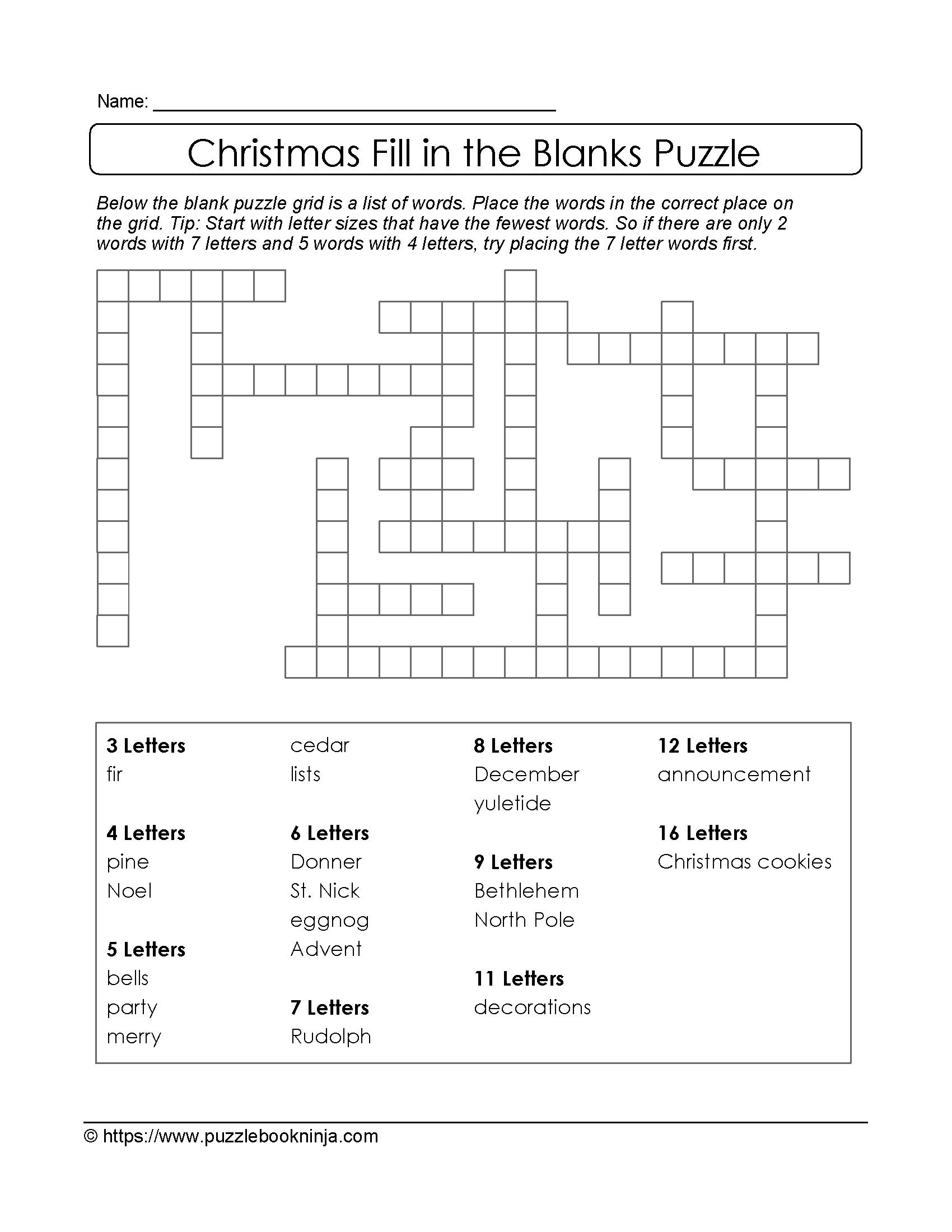 Christmas Printable Puzzle. Free Fill In The Blanks.   Christmas - Free Printable Fill In Puzzles