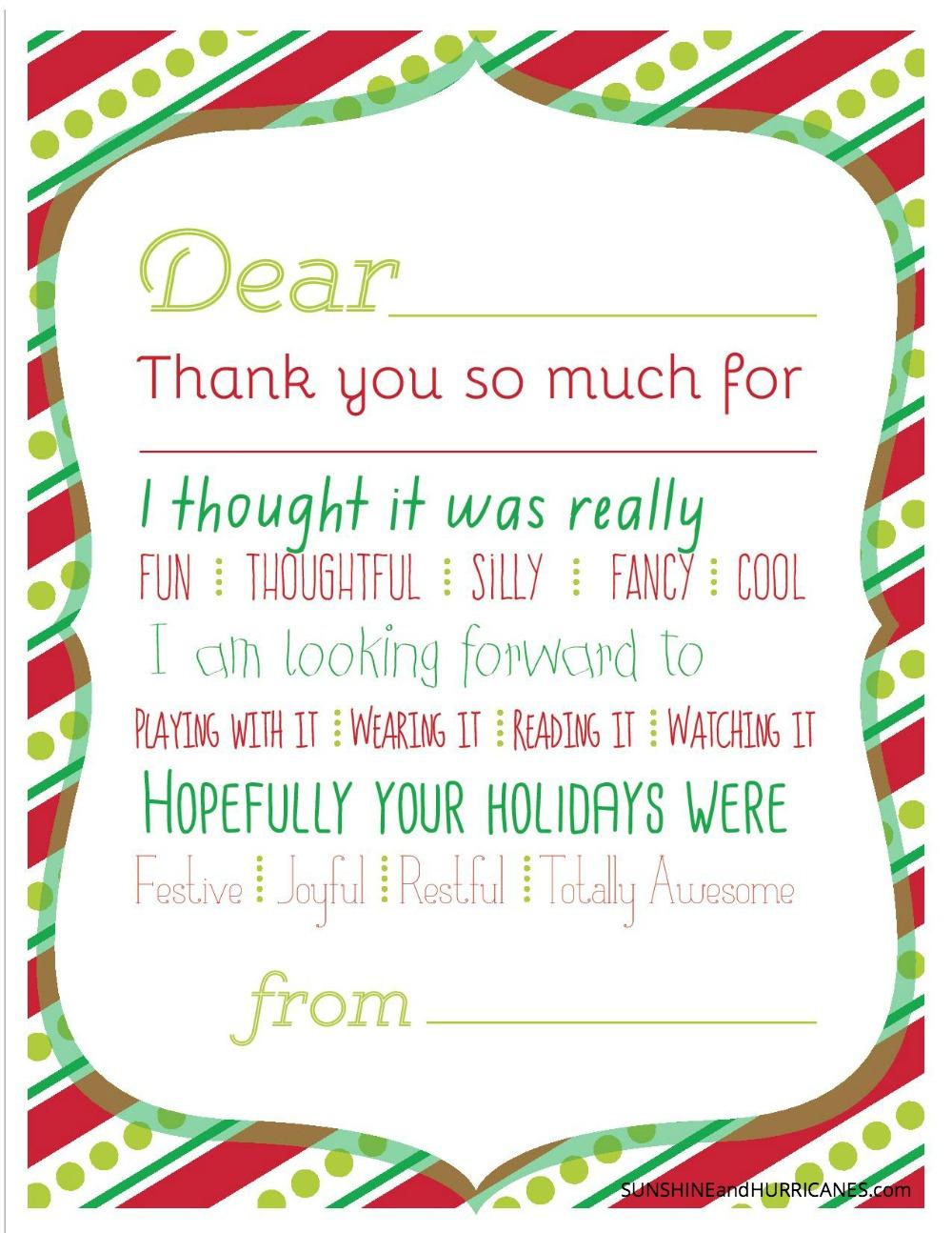 Christmas Printable Thank You Cards For Kids - Fill In The Blank Thank You Cards Printable Free
