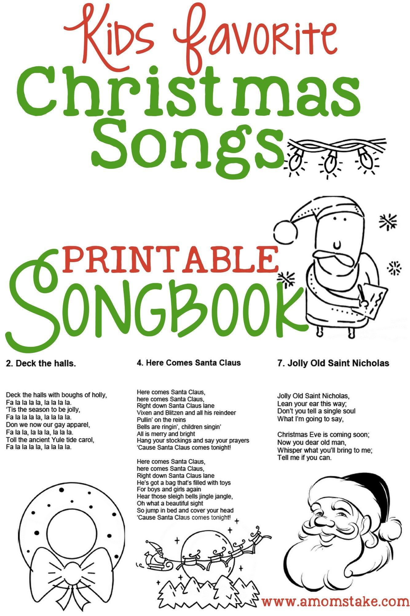 Christmas Songs For Kids – Free Printable Songbook! A Coloring Book - Free Printable Christmas Books For Kindergarten