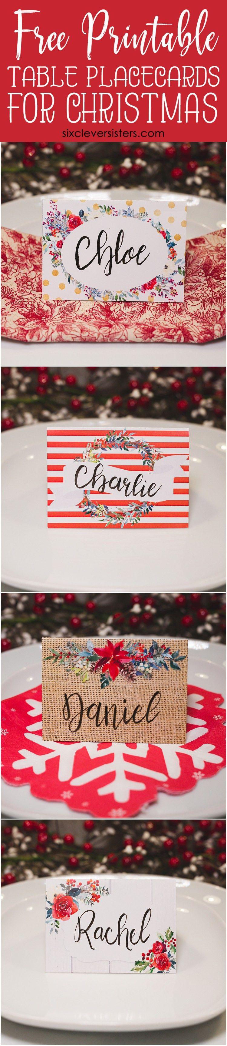 Christmas Table Place Cards | Christmas Name Place Cards | Christmas - Christmas Table Name Cards Free Printable
