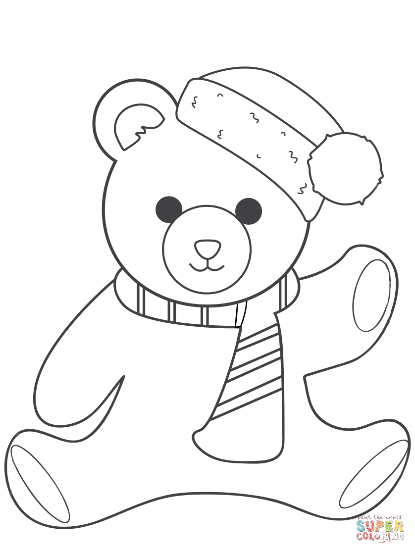 Christmas Teddy Bear Coloring Page | Free Printable Coloring Pages - Teddy Bear Coloring Pages Free Printable