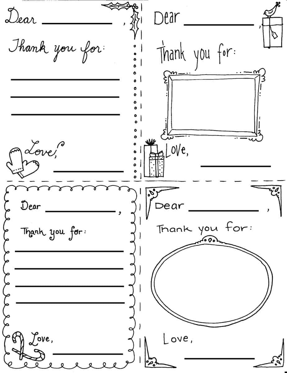 """Christmas """"thank You"""" Cards Coloring Sheets - Free Christmas Thank You Notes Printable"""