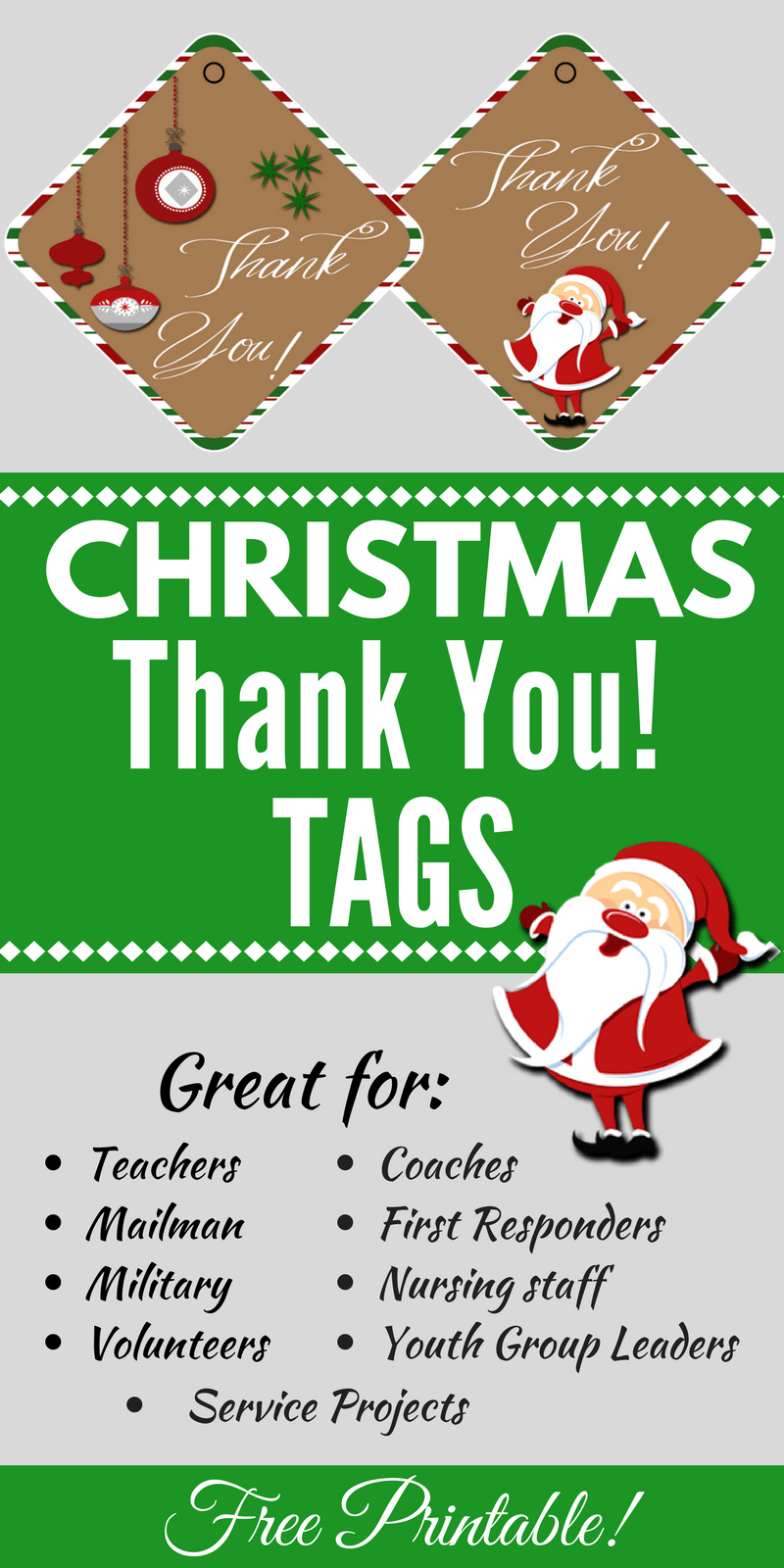 Christmas Thank You Tags Free Printable | Christmas - Food, Crafts - Free Printable Christmas Food Labels