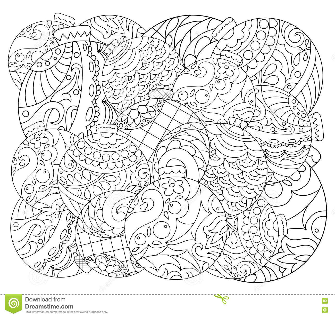 Christmas Tree Ornament Adult Coloring Page. Vector Coloring Page - Free Printable Christmas Tree Ornaments To Color