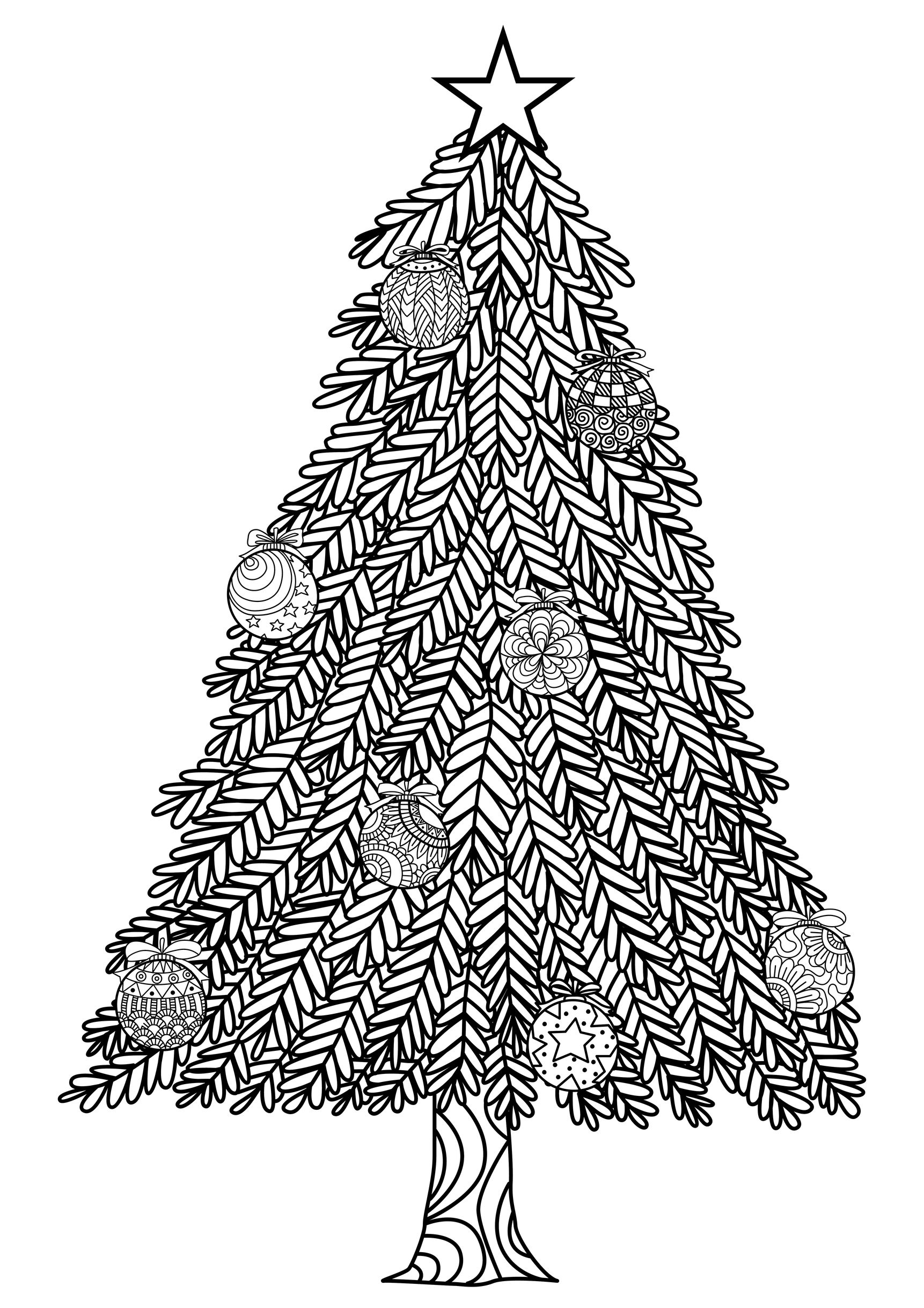 Christmas Tree With Ball Ornaments - Christmas Adult Coloring Pages - Free Printable Christmas Tree Images